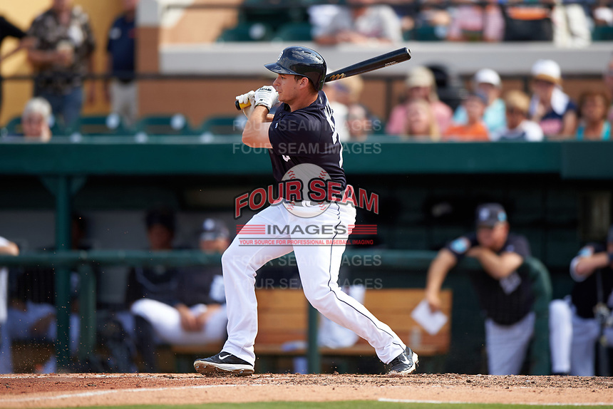 Detroit Tigers left fielder Jason Krizan (73) at bat during an exhibition game against the Florida Southern Moccasins on February 29, 2016 at Joker Marchant Stadium in Lakeland, Florida.  Detroit defeated Florida Southern 7-2.  (Mike Janes/Four Seam Images)