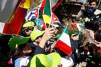 """Il """"coccodrillo del Papa"""" viene mostrato ad un gruppo di bambini durante una cerimonia per la sua partenza per Cuba, al Bioparco, Roma, 14 marzo 2012. Il coccodrillo, sequestrato nel 2011 dal Corpo Forestale dello Stato ad un uomo che lo teneva nella sua casa al Nord Italia, e curato dallo staff zoologico e veterinario del Bioparco, verra' restituito alla sua terra d'origine in coincidenza col viaggio apostolico del Santo Padre..The """"Pope's crocodile"""" is shown to children during a ceremony for its departure to Cuba, at the Bioparco, in Rome, 14 march 2012. The crocodile, seized on 2011 from the Forester from a man it in his house at Northern Italy, and cared by the Bioparco's biological and veterinary staff, will be given back to its land in coincidence with Pope's scheduled apostolic journey..UPDATE IMAGES PRESS/Riccardo De Luca"""