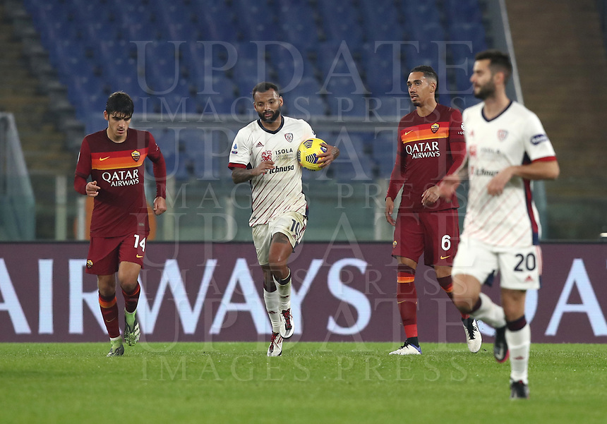 Football, Serie A: AS Roma - Cagliari calcio, Olympic stadium, Rome, December 23, 2020. <br /> Cagliari's captain Joao Pedro (c) celebrates after scoring his second goal in the match during the Italian Serie A football match between Roma and Cagliari at Rome's Olympic stadium, on December 23, 2020.  <br /> UPDATE IMAGES PRESS/Isabella Bonotto