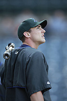 Ben Grieve of the Tampa Bay Devil Rays before a 2002 MLB season game against the Los Angeles Angels at Angel Stadium, in Los Angeles, California. (Larry Goren/Four Seam Images)