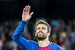Gerard Pique Bernabeu of FC Barcelona gestures after winning the La Liga match between FC Barcelona vs RCD Espanyol at the Camp Nou on 09 September 2017 in Barcelona, Spain. Photo by Vicens Gimenez / Power Sport Images
