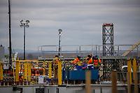 Francois-Philippe Champagne, ministre responsable visite le chantier du nouveau pont Champlain. Octobre 2018.<br /> <br /> PHOTO : Agence Quebec Presse