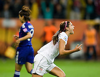 Alex Morgan (13) of the United States celebrates her goal during the final of the FIFA Women's World Cup at FIFA Women's World Cup Stadium in Frankfurt Germany.  Japan won the FIFA Women's World Cup on penalty kicks after tying the United States, 2-2, in extra time.