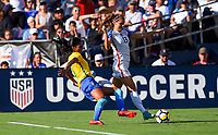 San Diego, CA - Sunday July 30, 2017: Alex Morgan during a 2017 Tournament of Nations match between the women's national teams of the United States (USA) and Brazil (BRA) at Qualcomm Stadium.