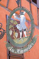 wrought iron sign wistub du sommelier bergheim alsace france