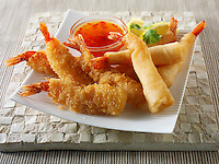 Chinese breaded and battered deep fried tiger prawns