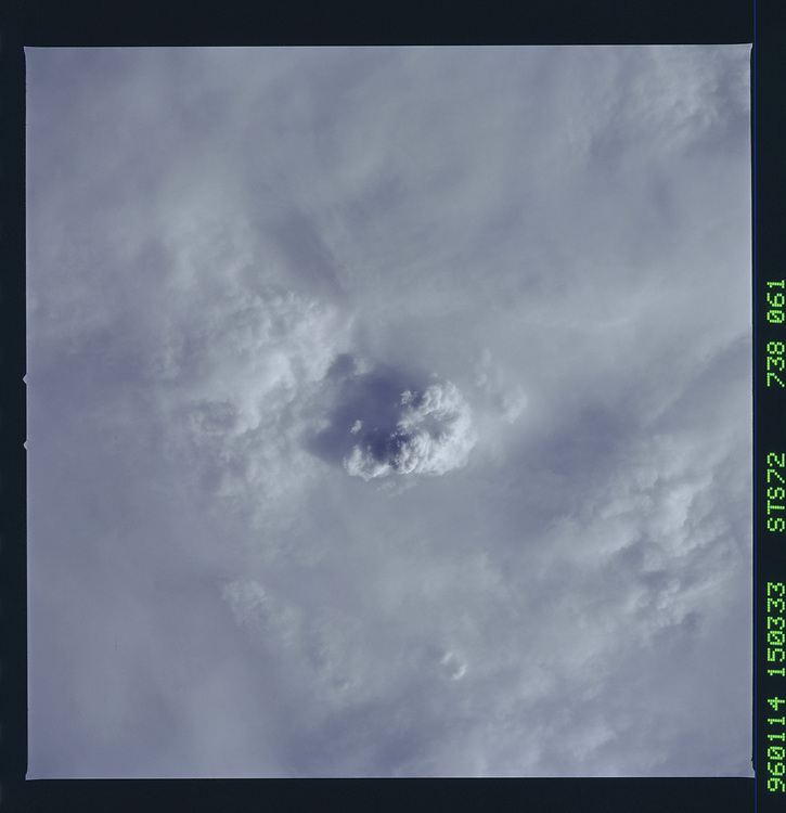 John Angerson. STS-72 Book.<br /> Public Domain Image.<br /> NASA images Courtesy National Archives - Record Group number: 255-STS-STS072<br /> Description: Earth observations taken from shuttle orbiter Endeavour during STS-72 mission.<br /> <br /> Subject Terms: STS-72, ENDEAVOUR (ORBITER), EARTH OBSERVATIONS (FROM SPACE), EARTH LIMB<br /> <br /> Date Taken: 1/14/1996<br /> <br /> Categories: Earth Observations<br /> <br /> Interior_Exterior: Exterior<br /> <br /> Ground_Orbit: On-orbit<br /> <br /> Original: Film - 70MM CT<br /> <br /> Preservation File Format: TIFF<br /> <br /> geon: CLOUDS<br /> <br /> feat: CLOUDS, THUNDERSTORM<br /> <br /> tilt: Low Oblique<br /> <br /> cldp: 100<br /> <br /> nlat: -24.6<br /> <br /> nlon: 34.4<br /> <br /> azi: 255<br /> <br /> alt: 164<br /> <br /> elev: 19