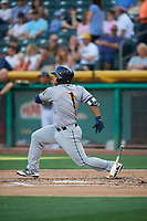Tomas Telis (1) of the New Orleans Baby Cakes bats against the Salt Lake Bees at Smith's Ballpark on June 8, 2018 in Salt Lake City, Utah. Salt Lake defeated New Orleans 4-0.  (Stephen Smith/Four Seam Images)