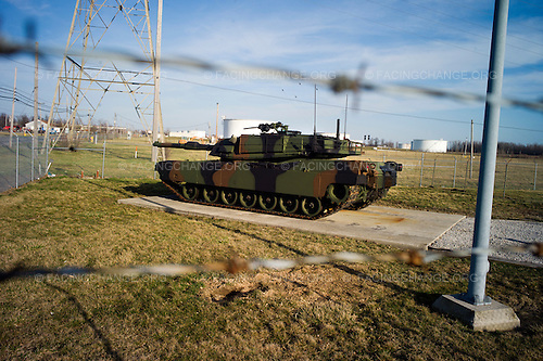 Lima, Ohio.March 2012..XM-1 Abrams tank prototype from 1979 preserved at the gates of the Joint Systems Manufacturing Center (US Army Tank Plant.)