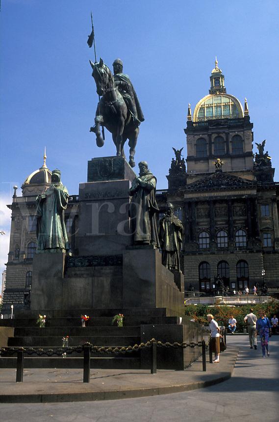 AJ2212, Prague, Czech Republic, Europe, Equestrian statue outside the National Museum in Prague.