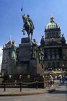 AJ2212, Prague, Czech Republic, Europe, Equestrian statue outside the National Museum in Prague.