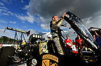Sept 9, 2012; Clermont, IN, USA: NHRA top fuel dragster driver Tony Schumacher celebrates after winning the US Nationals at Lucas Oil Raceway. Mandatory Credit: Mark J. Rebilas-