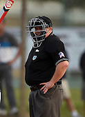 Home plate umpire during a Lake Mary Rams game against the Lake Brantley Patriots on April 2, 2015 at Allen Tuttle Field in Lake Mary, Florida.  Lake Brantley defeated Lake Mary 10-5.  (Mike Janes Photography)