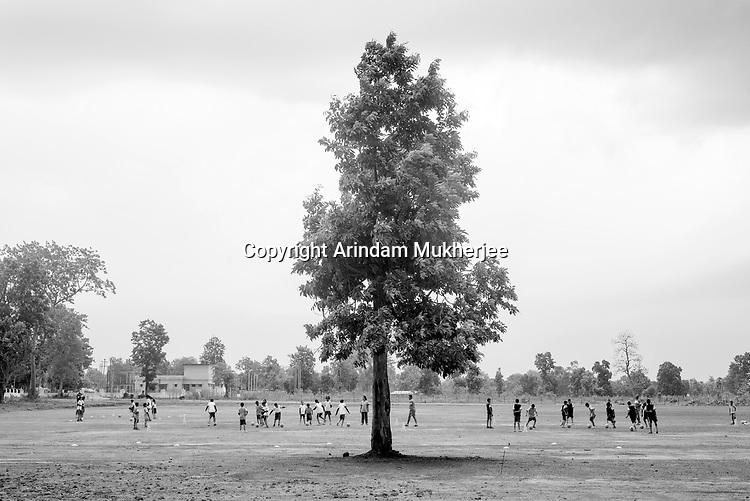 Students of Sukma Football academy practices in their ground at the educational complex in Sukma.Sukma, Chattisgarh, India. Arindam Mukherjee