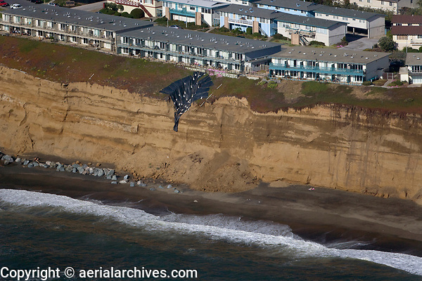 aerial photograph of coastal erosion Daly City, South San Francisco, San Mateo county, California