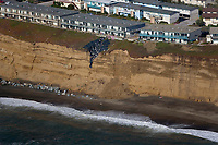 aerial photograph of coastal erosion Daly City, South San Francisco, San Mateo county, California