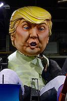 Nice, le 26 Janvier 2016 - La Maison du Carnaval : construction des tetes et des chars de Carnaval - Donald Trump