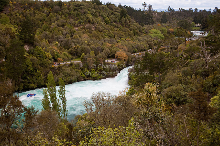 Sightseeing Boat Approaching Huka Falls, Waikato River, Lake Taupo Region, north island, New Zealand.