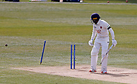 Daniel Bell-Drummond of Kent is bowled by David Willey during Kent CCC vs Yorkshire CCC, LV Insurance County Championship Group 3 Cricket at The Spitfire Ground on 18th April 2021