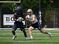 Shiloh Christian football player Kaden Henley (right) seen Wednesday July 14, 2021 at the Southwest Elite 7on7 at Shiloh Christians Champions Stadium, is verbally committed to the University of Arkansas.  (NWA Democrat-Gazette/Spencer Tirey)
