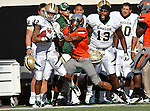 Baylor Bears wide receiver Levi Norwood (42) and Oklahoma State Cowboys cornerback Justin Gilbert (4) in action during the game between the Baylor Bears and the Oklahoma State Cowboys at the Boone Pickens Stadium in Stillwater, OK. Oklahoma State defeats Baylor 59 to 24.