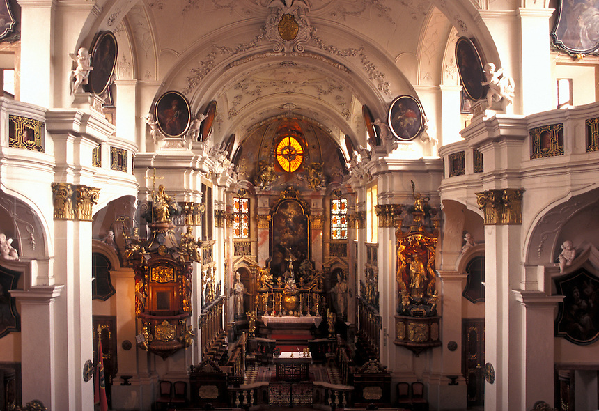 Austria, church, Durnstein, The Danube Valley, Wachau, Interior of The Parish Church