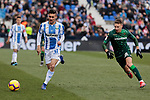 CD Leganes's Oscar Rodriguez and Real Betis Balompie's Francisco Guerrero during La Liga match between CD Leganes and Real Betis Balompie at Butarque Stadium in Madrid, Spain. February 10, 2019. (ALTERPHOTOS/A. Perez Meca)