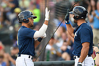 Center fielder Desmond Lindsay (2) of the Columbia Fireflies is greeted by Tim Tebow after scoring a run in a game against the Charleston RiverDogs on Friday, June 9, 2017, at Spirit Communications Park in Columbia, South Carolina. Columbia won, 3-1. (Tom Priddy/Four Seam Images)