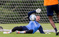 Goalkeeper Barry Richardson pulls off a save during the Wycombe Wanderers 2016/17 Pre Season Training Session at Wycombe Training Ground, High Wycombe, England on 1 July 2016. Photo by Andy Rowland / PRiME Media Images.