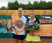 "2013-08-17, Netherlands, Raalte,  TV Ramele, Tennis, NRTK 2013, National Ranking Tennis Champ,  Danielle Harmsen winner and Olga Kalyuzhnaya runner up with their trophy""s<br /> <br /> Photo: Henk Koster"