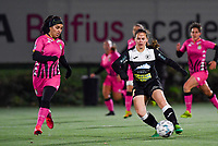 Yasaman Farmani (6 Charleroi) pictured in a duel with Aalst's Valentine Hannecart during a female soccer game between Sporting Charleroi and Eendracht Aalst on the 8th  matchday of the 2020 - 2021 season of Belgian Scooore Womens Super League , friday 20 th of November 2020  in Marcinelle , Belgium . PHOTO SPORTPIX.BE | SPP | DAVID CATRY