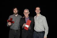 Montreal (QC) CANADA - May 18  2011  Gala NUMIX :  Production Originale Interactive - Section Jeux Occasionels en ligne. Gagnant : MuBlip - Para 9 :<br /> Mathieu Guindon, Para 9, Michel G. Desjardins, PrÈsentateur, Alexandre GrÈgoire, Para 9<br /> <br /> Photo : (c) 2011, Pierre Roussel -  Pour Usage editorial relie au gala NUMIX 2011