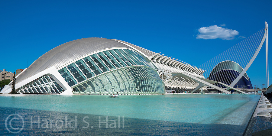 Valencia, Spain is the birthplace of Santiago Calatrava and the site of the group of buildings called the City of Arts and Sciences. The closer building is the planetarium and the most distant building is the aquarium.