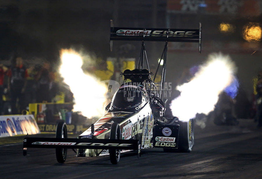 Apr. 5, 2013; Las Vegas, NV, USA: NHRA top fuel dragster driver Brittany Force during qualifying for the Summitracing.com Nationals at the Strip at Las Vegas Motor Speedway. Mandatory Credit: Mark J. Rebilas-