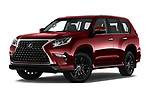 Stock pictures of low aggressive front three quarter view of 2020 Lexus GX - 5 Door SUV Low Aggressive