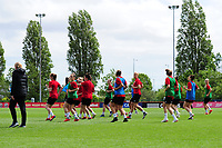 Players from the Wales Women team during the Wales Women Training Session at the Cardiff International Sports Stadium in Cardiff, Wales, UK. Monday 03 June 2019