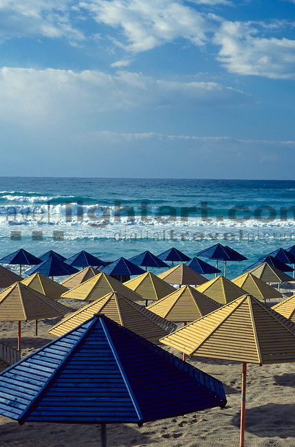 Umbrellas on Beach, Agia Napa, Aya Napa, Nissi Beach, Cyprus. Zypern.