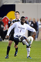 Allando Matheson (8) of the Connecticut Huskies. Connecticut defeated Louisville 1-0 during the first semifinal match of the Big East Men's Soccer Championships at Red Bull Arena in Harrison, NJ, on November 11, 2011.