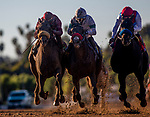 January 30, 2021: Medina Spirt and Able Cedillo defeat defeats Hot Rod Charlie (center ) and Roman Centaurian to win the Bob Lewis Stakes at Santa Anita Park in Arcadia, California on January 30, 2021. Evers/Eclipse Sportswire/CSM