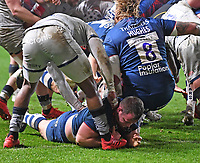 5th February 2021; Ashton Gate Stadium, Bristol, England; Premiership Rugby Union, Bristol Bears versus Sale Sharks; Bryan Byrne of Bristol Bears breaks from a maul to score the first try of the match under pressure from Marland Yarde of Sale Sharks