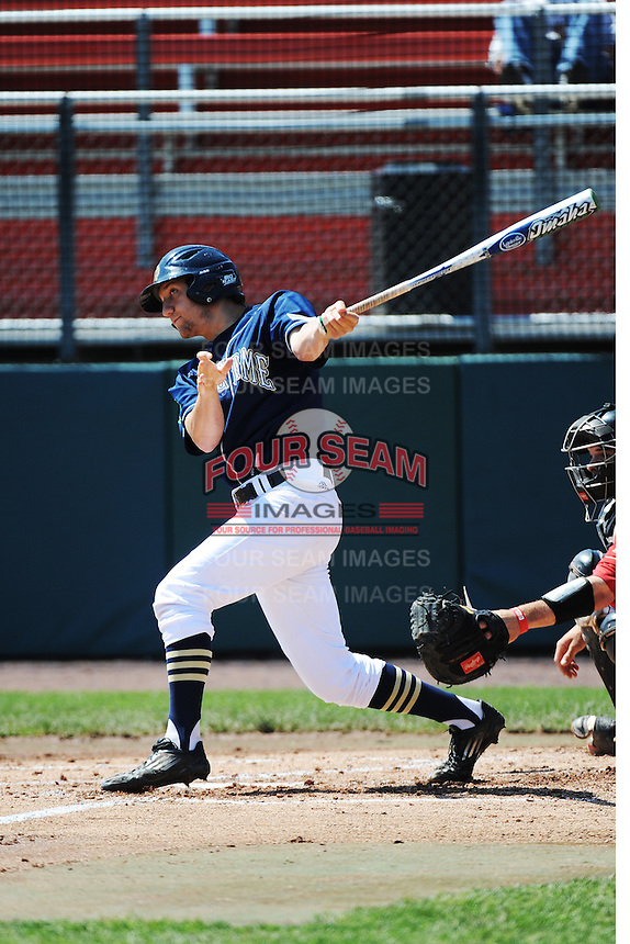 University of Notre Dame Fighting Irish outfielder Mac Hudgins (13) during game against the St. John's University Redstorm at Jack Kaiser Stadium on May 12, 2013 in Queens, New York. St. John's defeated Notre Dame 2-1.      . (Tomasso DeRosa/ Four Seam Images)