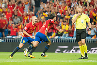 Spain's Andres Iniesta and Fernando Alarcon 'Isco' celebrating a goal during match between Spain and Italy to clasification to World Cup 2018 at Santiago Bernabeu Stadium in Madrid, Spain September 02, 2017. (ALTERPHOTOS/Borja B.Hojas)
