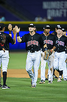 Hunter Jones (29) of the Winston-Salem Dash high fives his teammates following their win over the Salem Red Sox at BB&T Ballpark on June 16, 2016 in Winston-Salem, North Carolina.  The Dash defeated the Red Sox 7-1.  (Brian Westerholt/Four Seam Images)