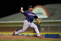 Lowell Spinners relief pitcher Juan Florentino (35) during a game against the Batavia Muckdogs on July 11, 2017 at Dwyer Stadium in Batavia, New York.  Lowell defeated Batavia 5-2.  (Mike Janes/Four Seam Images)
