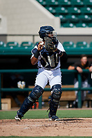 Detroit Tigers catcher Moises Nunez (48) throws to third base after a strikeout during a Florida Instructional League game against the Pittsburgh Pirates on October 6, 2018 at Joker Marchant Stadium in Lakeland, Florida.  (Mike Janes/Four Seam Images)