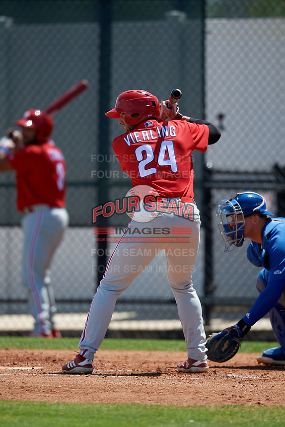 Philadelphia Phillies Matt Vierling (24) during a Minor League Spring Training game against the Toronto Blue Jays on March 29, 2019 at the Carpenter Complex in Clearwater, Florida.  (Mike Janes/Four Seam Images)