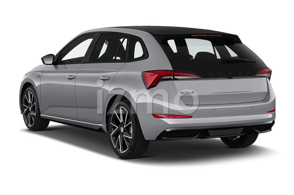 Car pictures of rear three quarter view of 2020 Skoda Scala Monte-Carlo 5 Door Hatchback Angular Rear