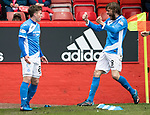 Aberdeen v St Johnstone…29.04.17     SPFL    Pittodrie<br />Craig Thomson celebrates his goal with a delighted Murray Davidson<br />Picture by Graeme Hart.<br />Copyright Perthshire Picture Agency<br />Tel: 01738 623350  Mobile: 07990 594431