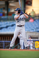 Mobile BayBears center fielder Brennon Lund (8) at bat during a game against the Mississippi Braves on May 7, 2018 at Trustmark Park in Pearl, Mississippi.  Mobile defeated Mississippi 5-0.  (Mike Janes/Four Seam Images)