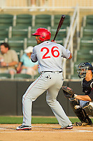 Wander Ramos (26) of the Hagerstown Suns at bat against the Kannapolis Intimidators at CMC-Northeast Stadium on May 17, 2013 in Kannapolis, North Carolina.  The Suns defeated the Intimidators 9-7.   (Brian Westerholt/Four Seam Images)